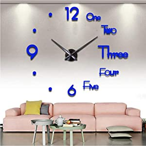 FASHION in THE CITY Large 3D Frameless Wall Clock Stickers DIY Wall Decoration for Living Room Bedroom Office (Blue)