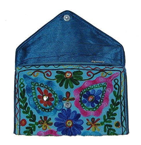 Prinzessin zu Stolberg Serie - Originelle, Handgefertigte Envelope Clutch/Notebooktasche mit ethnischen Motiven - Türkis