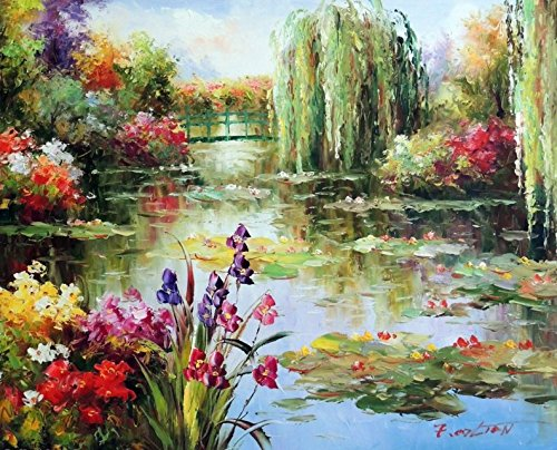 100% Hand Painted Lily Pond Weeping Willow Tree Iris Flowers Bridge Canvas Home Wall Art Oil Painting by Well Known Artist, Framed, Ready to Hang