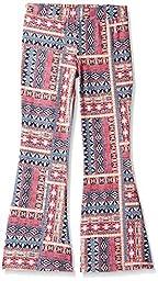 Amy Byer Big Girls\' Print Knit Flare Leg Pant, Pat G/Coral/Navy, L