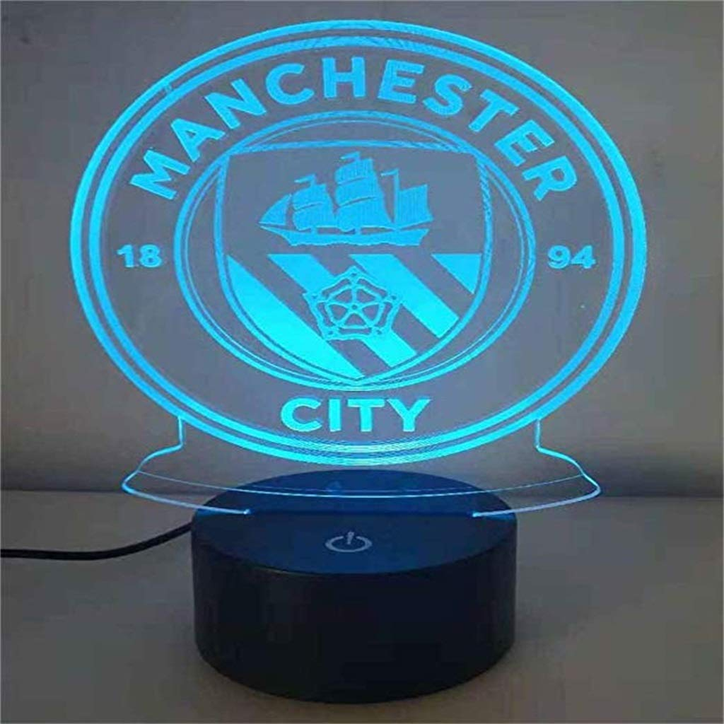Manchester City 3D Night Light/Led Energy Saving Lamp, 7 Color Change, Touch/Remote Control, Black Base, Decorative Children's Bedroom Gifts