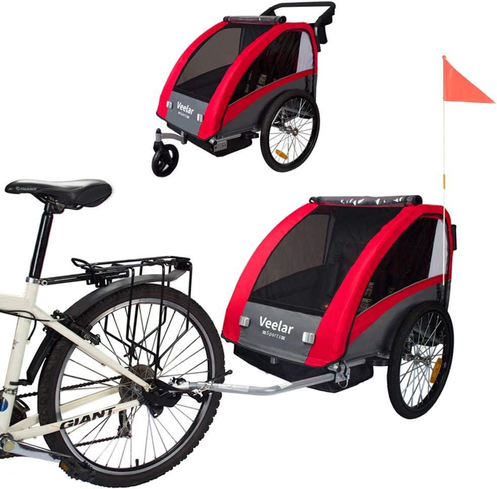 Veelar Sports 2 in 1 Kinderanh/änger Fahrradanh/änger Anh/änger mit Buggy Set Federung BT603-D01 ROT
