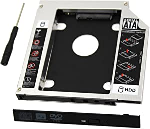 SATA Hard Drive Caddy, Universal 9.5 mm SATA to SATA 2nd SSD HDD Hard Drive Caddy Adapter Tray Enclosures for DELL HP Lenovo ThinkPad ACER Gateway ASUS Sony Samsung MSI Laptop