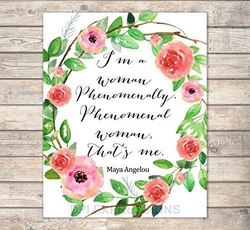 Amazon Phenomenal Woman Maya Angelou Quote Art Print Floral Fascinating Phenomenal Woman Quotes