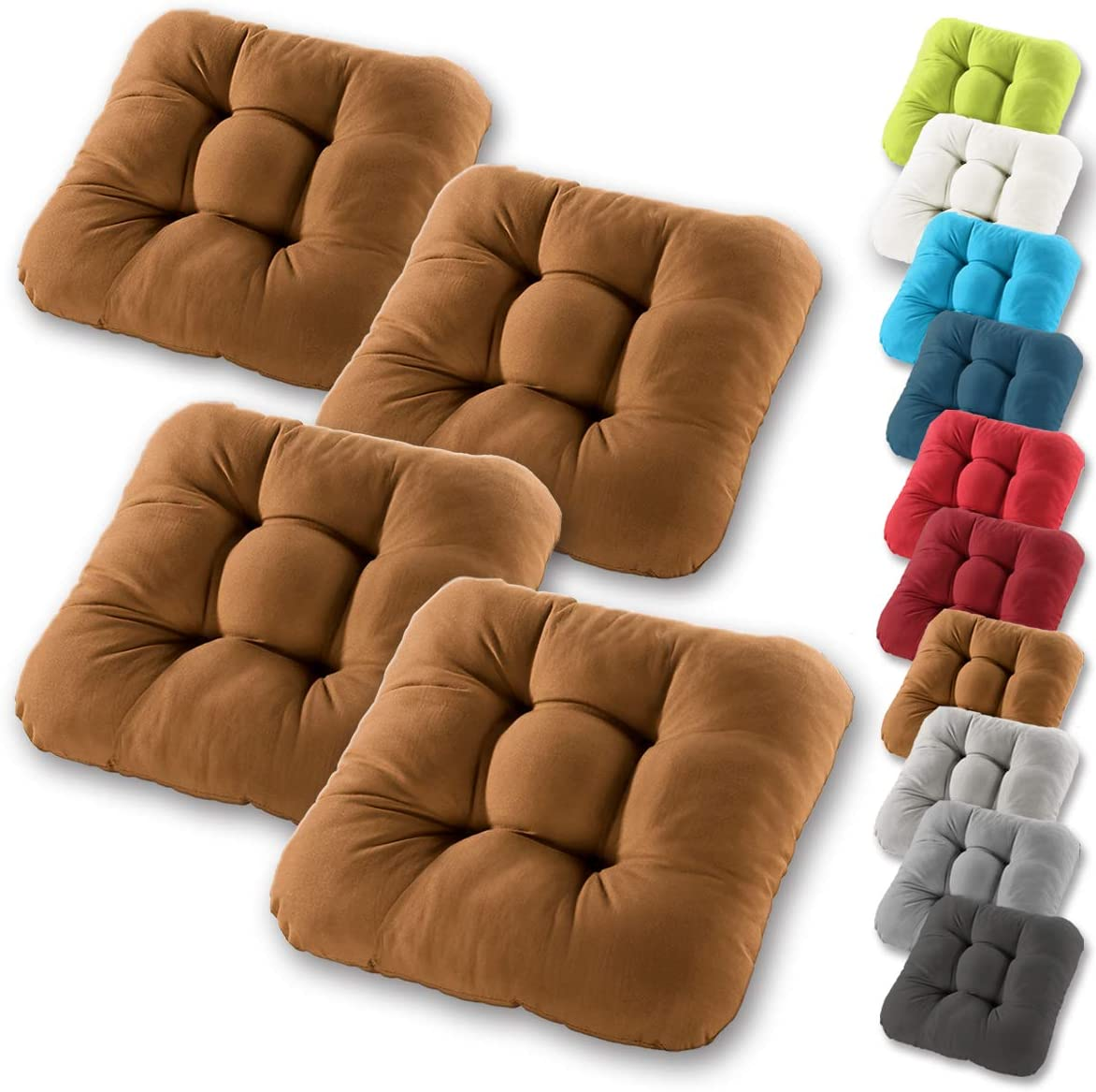 many colours 100/% cotton cover thick upholstery quilted cushion//floor cushion Gr/äfenstayn/® set of 4 seat cushions chair cushion 40x40x8cm for indoor and outdoor Dark Blue model 2019