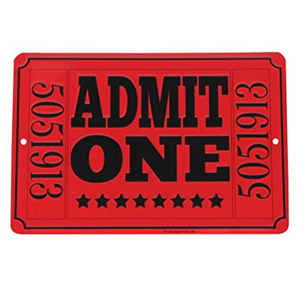 Amazon Admit One Red Movie Theatre Ticket Metal Sign Home