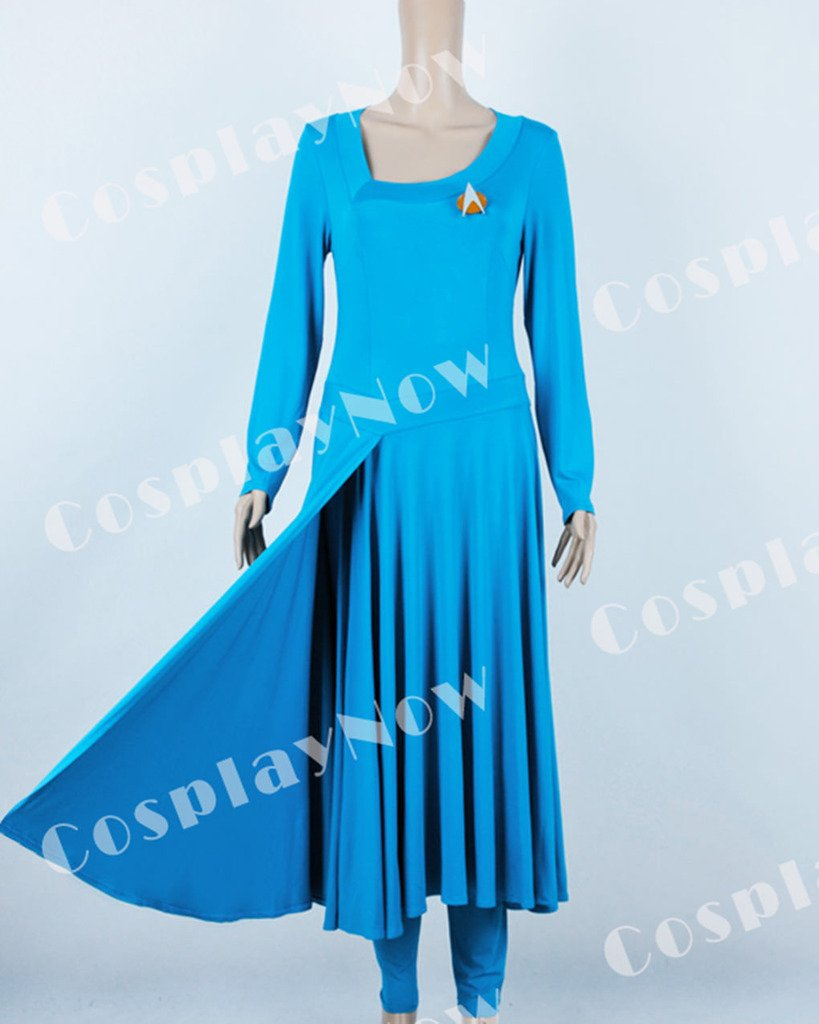 CosplayNow Star Trek Deanna Troi Cosplay Costume Dress Blue Custom Made by CosplayNow (Image #6)