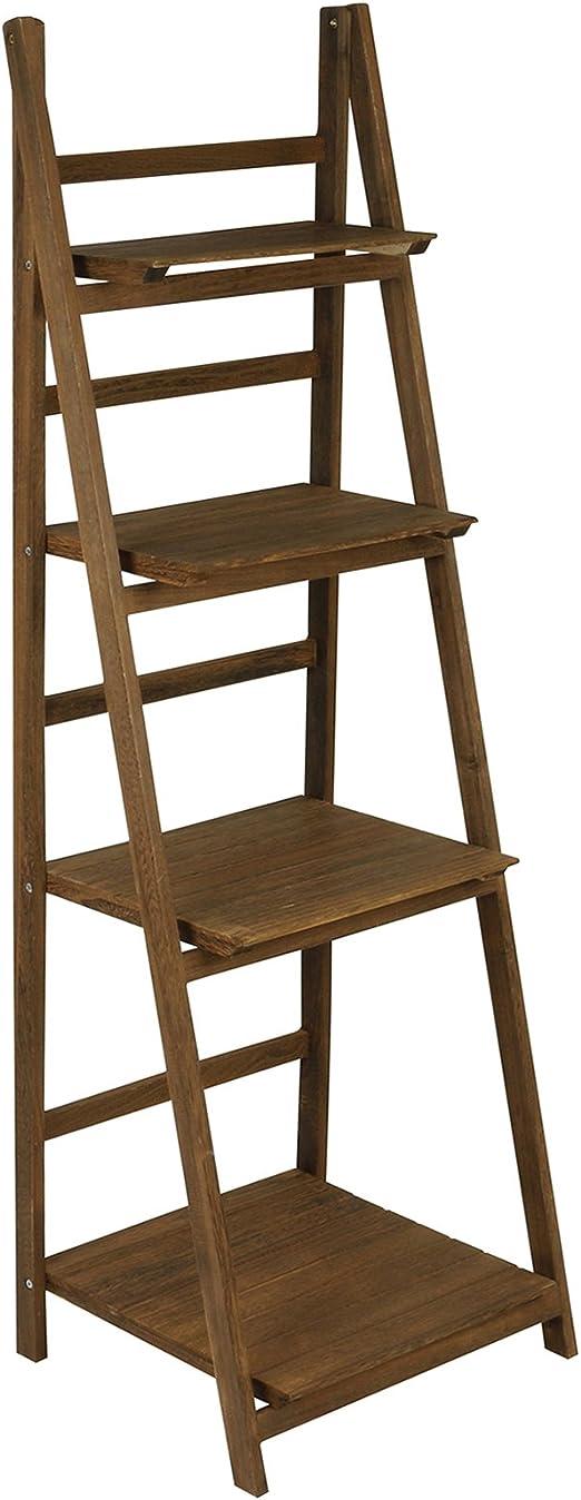 Hartleys Estantería Plegable de 4 baldas Tipo Escalera Marrón: Amazon.es: Hogar