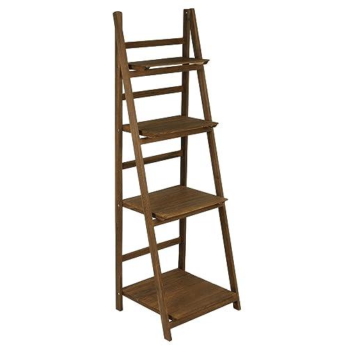 Hartleys 4 Tier Folding Ladder Shelf   Brown