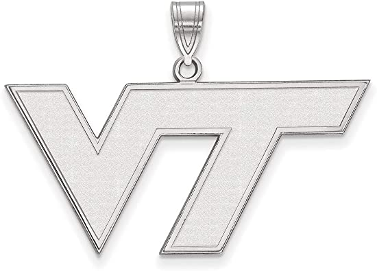 Virginia Tech Hokies VT School Letters Logo Pendant in Sterling Silver