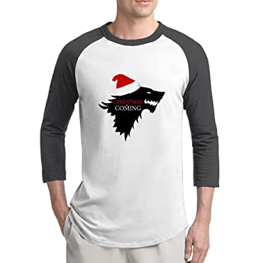 3d2f8a61 Christmas Is Coming Mens Funny Sayings 100% Cotton 3/4 Sleeve Athletic Baseball  Raglan