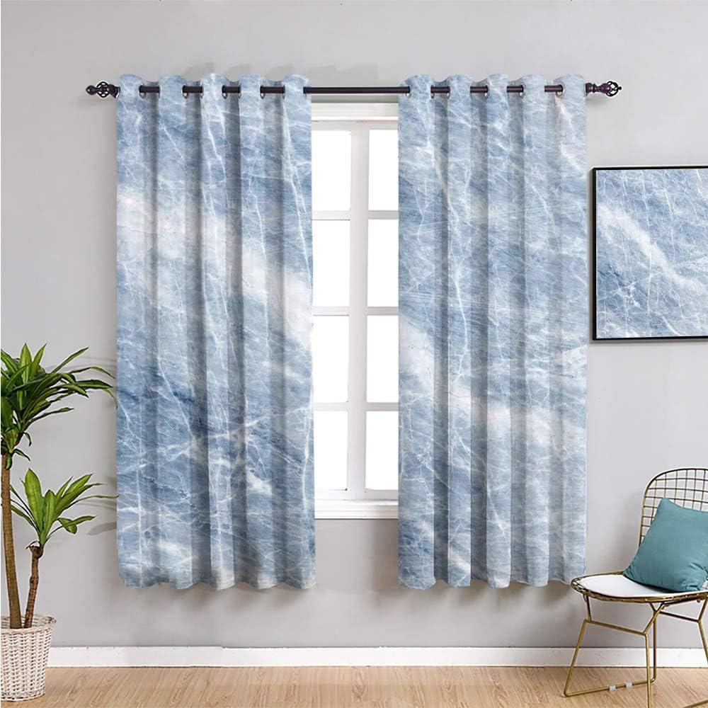 Cortina opaca de mármol Vicwone, 114,3 cm de largo, patrón de mármol azul claro con grietas blancas en su superficie geografía piedra cortina de baño W63 x L45 pulgadas azul claro blanco