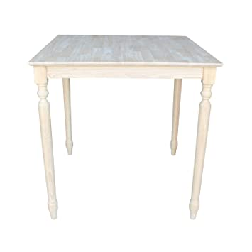 Amazing International Concepts Solid Wood Top Table With Turned Legs, 36 Inch