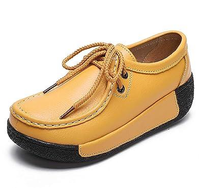 lovejin Plataforma de Damas Zapatos de Fitness Mocasines de Cuero Cuñas Transpirables Zapatillas Casuales al Aire Libre: Amazon.es: Zapatos y complementos