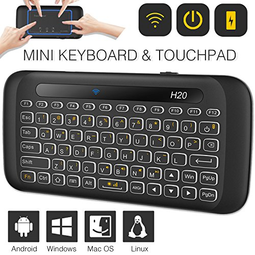 Mini Wireless Keyboard TNAIVE Mouse Combo, Adjustable Backlit Full Panel Touchpad Rechargeable Remote Control for Android TV Box, Windows, Linux, Mac, HTPC, IPTV, PC