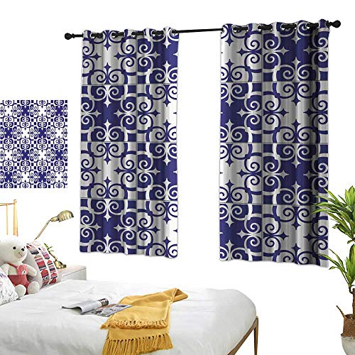 Creative blackout curtain Gorgeous seamless pattern white blue Moroccan Portuguese tiles Azulejo ornaments Can be used for wallpaper pattern fills web page background surface textures Premium washable