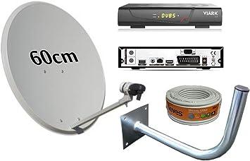Kit Antena PARABOLICA 60CM TECATEL + Receptor SATELITE VIARK ...
