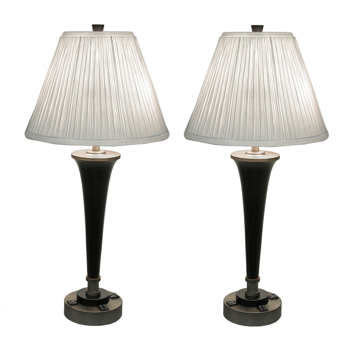 Metal Table Lamps Pair Of Black & Brass Finish Modern Dual Light Table Lamp W/Power Outlets 15 X 31 X 15 Inches Gold