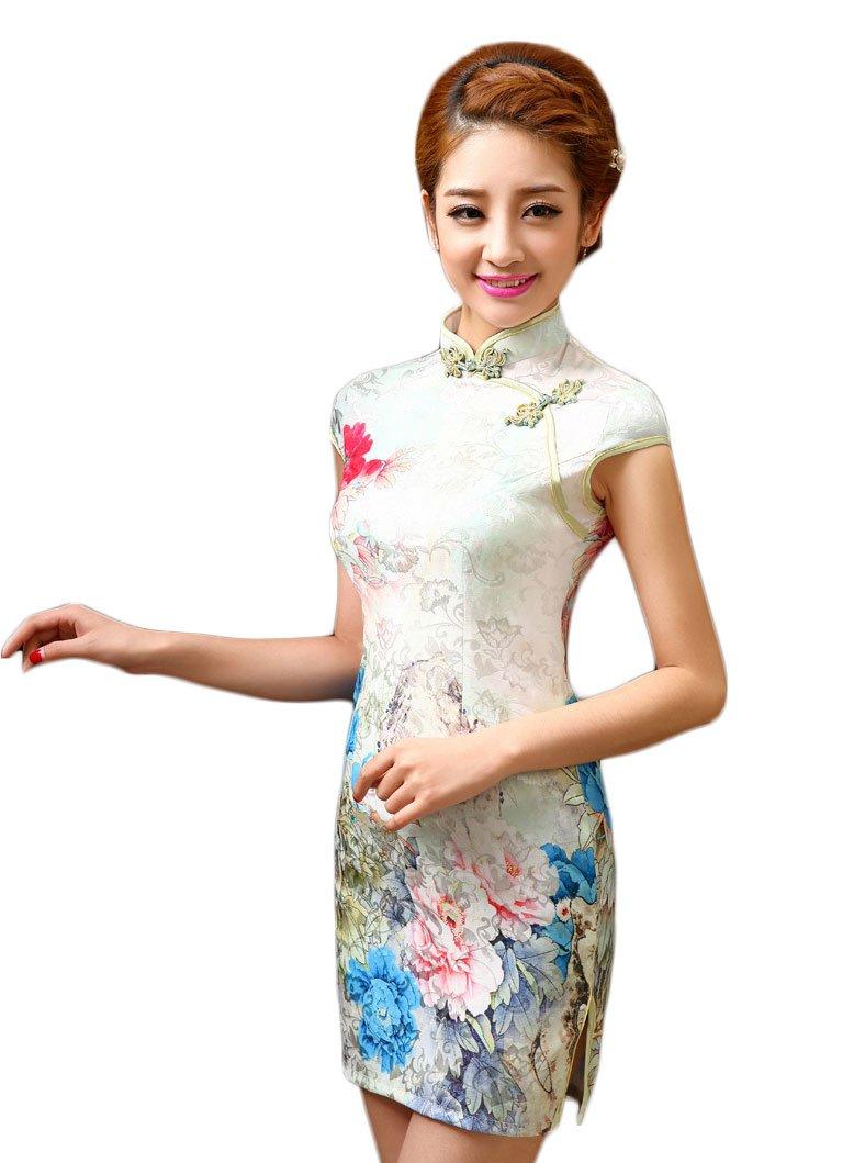 EXCELLANYARD Women's Cotton Chinese Qipao Cheongsam Dress 6