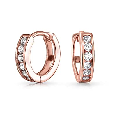 Bling Jewelry CZ Rose Gold Plated Silver Huggie Hoop Earrings