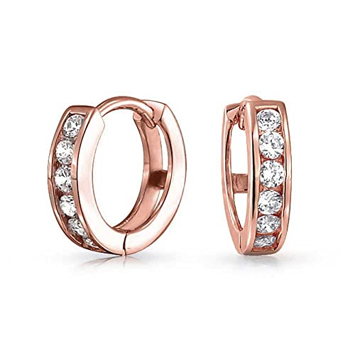 Eternity Rose Gold Plated Hoop Earrings with Clear Round Crystals NPsT87uX