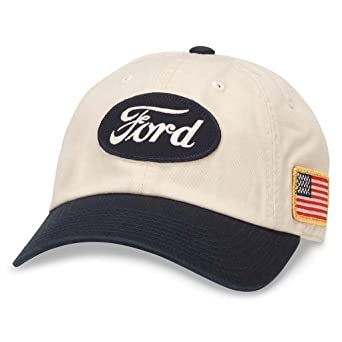 American Needle United Slouch Curved Brim Patch Baseball Hat, Ford, Ivory White/Navy Blue by American Needle