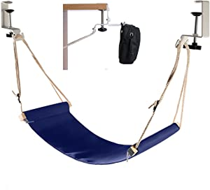 Elelink Portable Adjustable Mini Office Foot Rest/Foot Stool Stand Desk Foot Hammock with Headphones Holder,Footrest with Upgraded Screw In Rubber Clamps Suitable for All Desk Types(Blue)