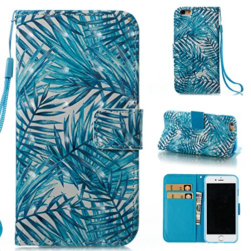 Palm Leather Case Handheld - ARSUE iPhone 6S Plus Wallet Case, iPhone 6 Plus case, Hybrid Flip Folio PU Leather Wallet Case with Kickstand and ID&Credit Card Pockets Cover for iPhone 6 Plus / 6S Plus 5.5 - Palm Leaves