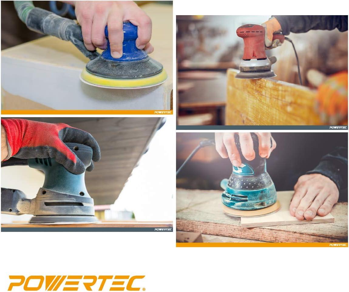 color dorado PowerTec 44015G-50 44015G-50-Discos de lija con gancho y lazo de grano 8 agujeros 50 unidades 5 pulgadas 150 Grit 0 V 0 W