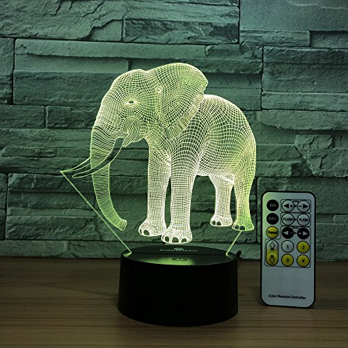 Easuntec Night Light Cute Elephant 3D Night Light Remote Control Adjustable 7 Colors Beside Lamp Help Kids Fell Safe At Night Kids Room Decor Or Animal Lover Gifts Branding  Cute Elephant