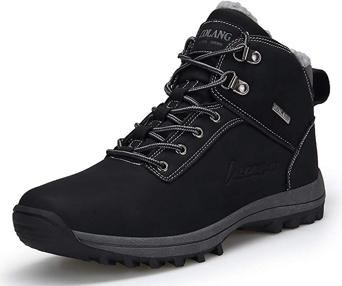 Mens Trekking Hiking Shoes Outdoor Hiking Waterproof Winter Shoes Non-Slip Rubber Sole Snow Boots