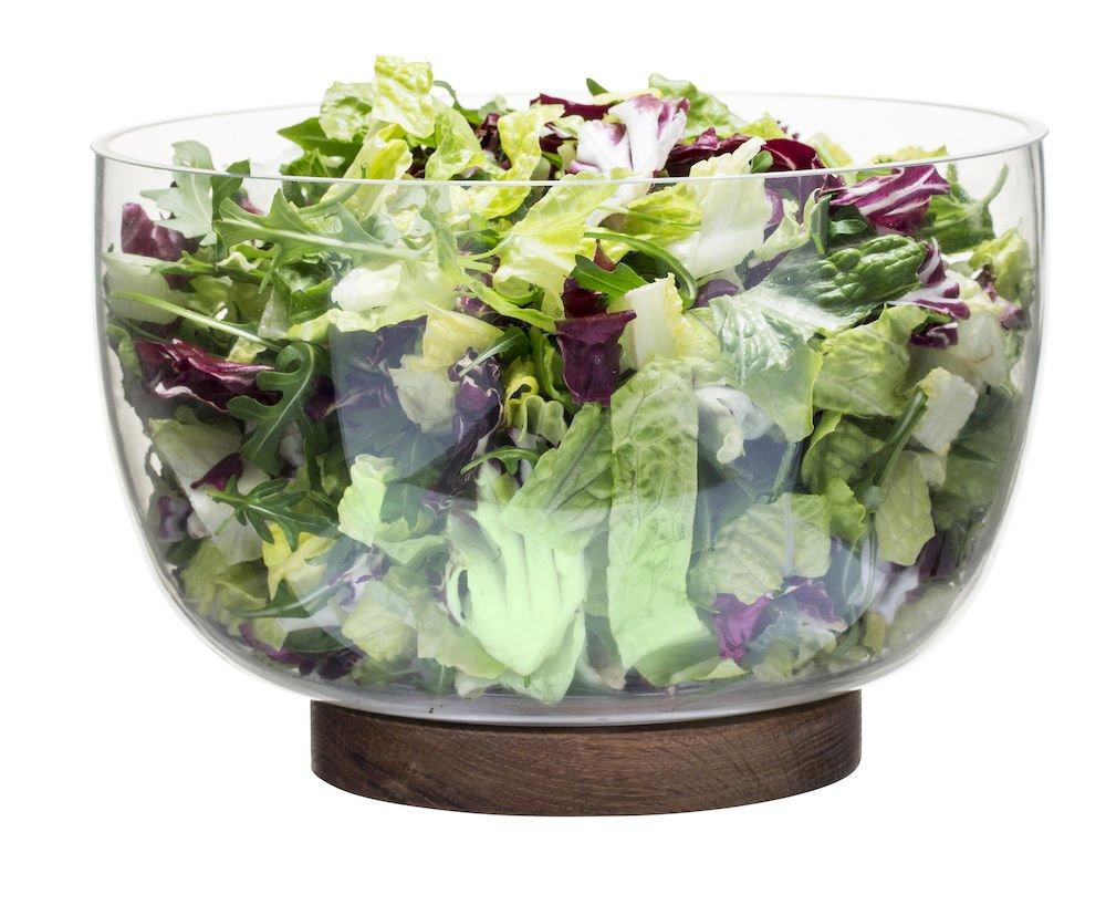 Sagaform 5017604 Oval glass Salad Bowl with Oak Trivet, Clear