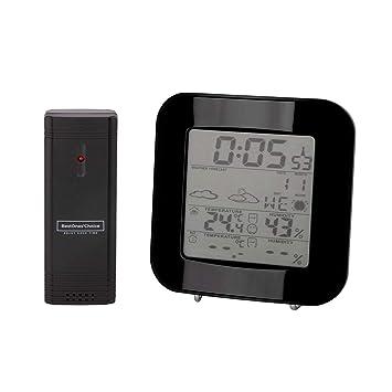 Termómetro Higrómetro Digital interior y exterior. Termohigrómetro con reloj despertador. Estación Meteorológica Inalámbrica con