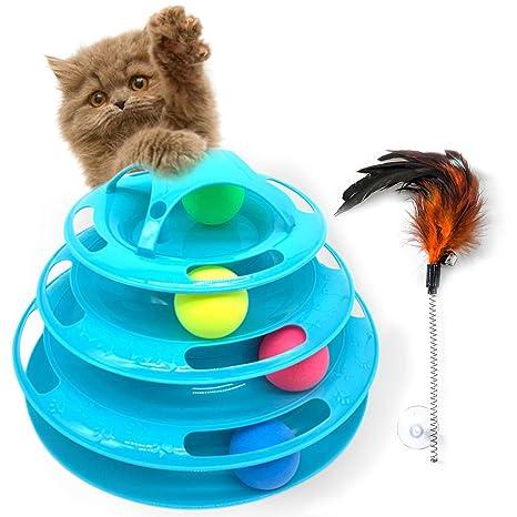 Juguete interactivo para gatos con 4 pelotas movibles, tocadiscos ...