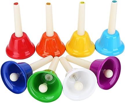 Clochettes en M/étal de 8 Tons Set de Cloches /à Main Kit Musical Jouet dInstrument pour Enfants