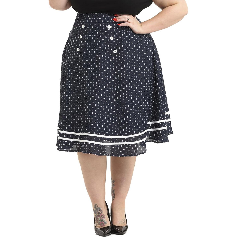 Vintage Sailor Nautical Style Clothing Voodoo Vixen Naomi Nautical Print Swing Skirt Plus Size Navy/ $57.99 AT vintagedancer.com