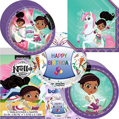 - Amazing Celebration Nella The Princess Knight Party Supplies Birthday Plates, Napkins, Table Cover and Happy Birthday Balloon Decoration Bundle