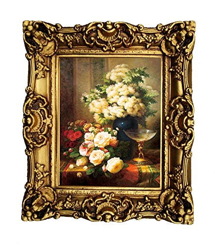 Hong Art Framed Flower Photo Wall Art Prints with Antique Gold Resin Frame, Antiqued Classic Gold Finish CS1822