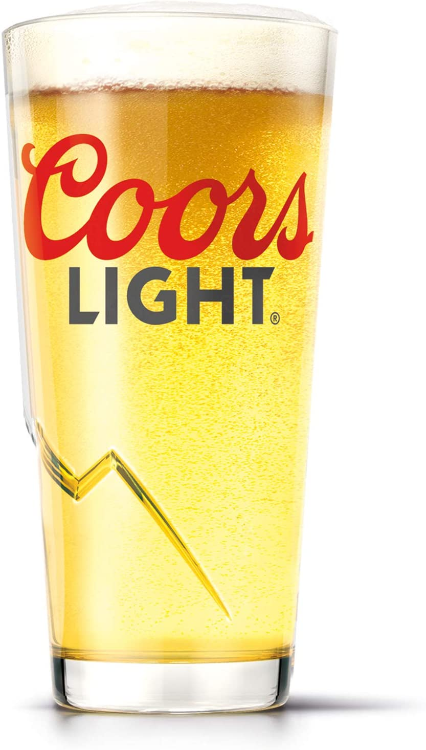 Personalised Branded 1 Pint Coors Light Beer Mountain Glass Engraved