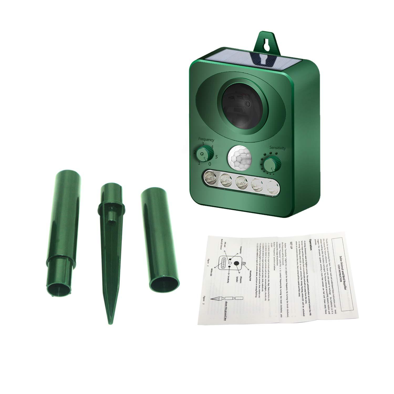 TU2 Ultrasonic Pest Repeller, Adjustable Frequency Sensitivity, PIR & LED Flashing Light, Waterproof Pest Deterrent Motion Sensor, Repel Birds Dogs Cats Squirrels Rabbits Rats: Animal Control Detector