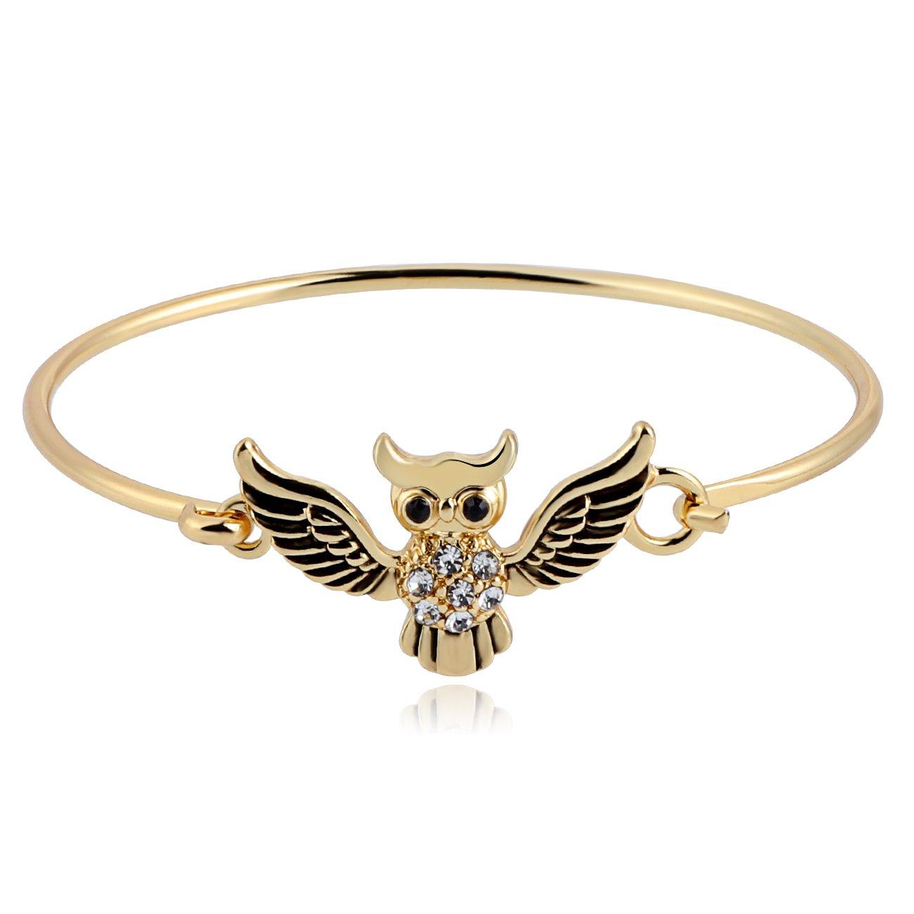 Amazoncom Manzhen Lovely Spread Wings Tiny Owl Bangle Bracelet