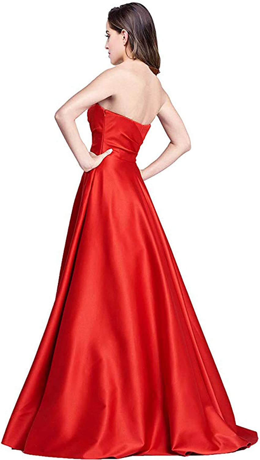 Ri Yun Women s Sweetheart Prom Dresses Long 2019 High Slit Satin Strapless  Formal Evening Ball Gowns with Pockets at Amazon Women s Clothing store  3b98784df
