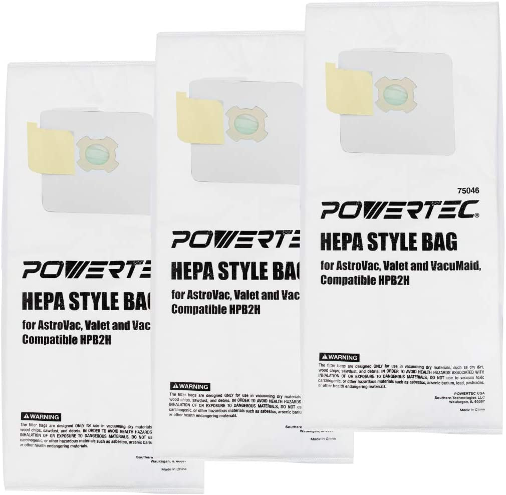POWERTEC 75046 HEPA Filtered Vacuum Bag | Replacement HPB2H Style Bags | Fits AstroVac Valet & VacuMaid Model – 3 PK