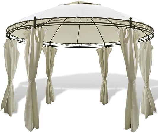 festnight Pérgola de exterior cenador redondo con cortinas 3 ...