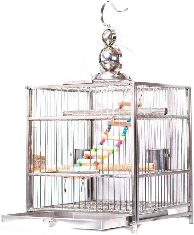 Ffshop Jaula para Pájaros Cajonera Cuadrada de Estilo cajón con Gancho Birdie Jaula de baño Jaula de pájaros de Acero Inoxidable Grande pajarera (Color : Upgraded Version, tamaño : M)