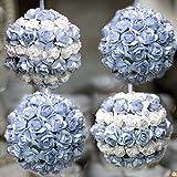 4 Palline di Natale fatte a mano con fiori bianchi e azzurri decorazione addobbo albero di natale diametro 7 cm