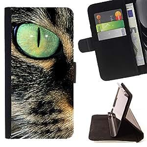 Momo Phone Case / Flip Funda de Cuero Case Cover - Savannah Serengeti somalí del gato del trullo de ojos; - Samsung Galaxy E5 E500