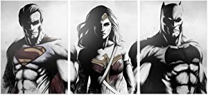 FUNHUA Superman Batman and Wonder Woman Poster Unframed 3 Panels Justice League Domics Wall Decor Fans Favorite American Super Hero Canvas Art for Home Boy Girl Room Bedroom Living Room 50x70 cm