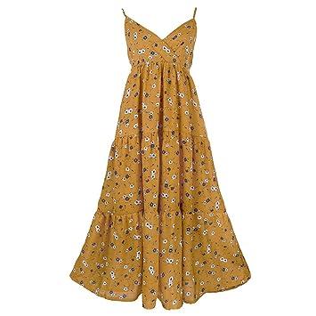 Vestidos de Flores Amarillas Playa de Verano Mujer Playa (Color : Amarillo, Tamaño :