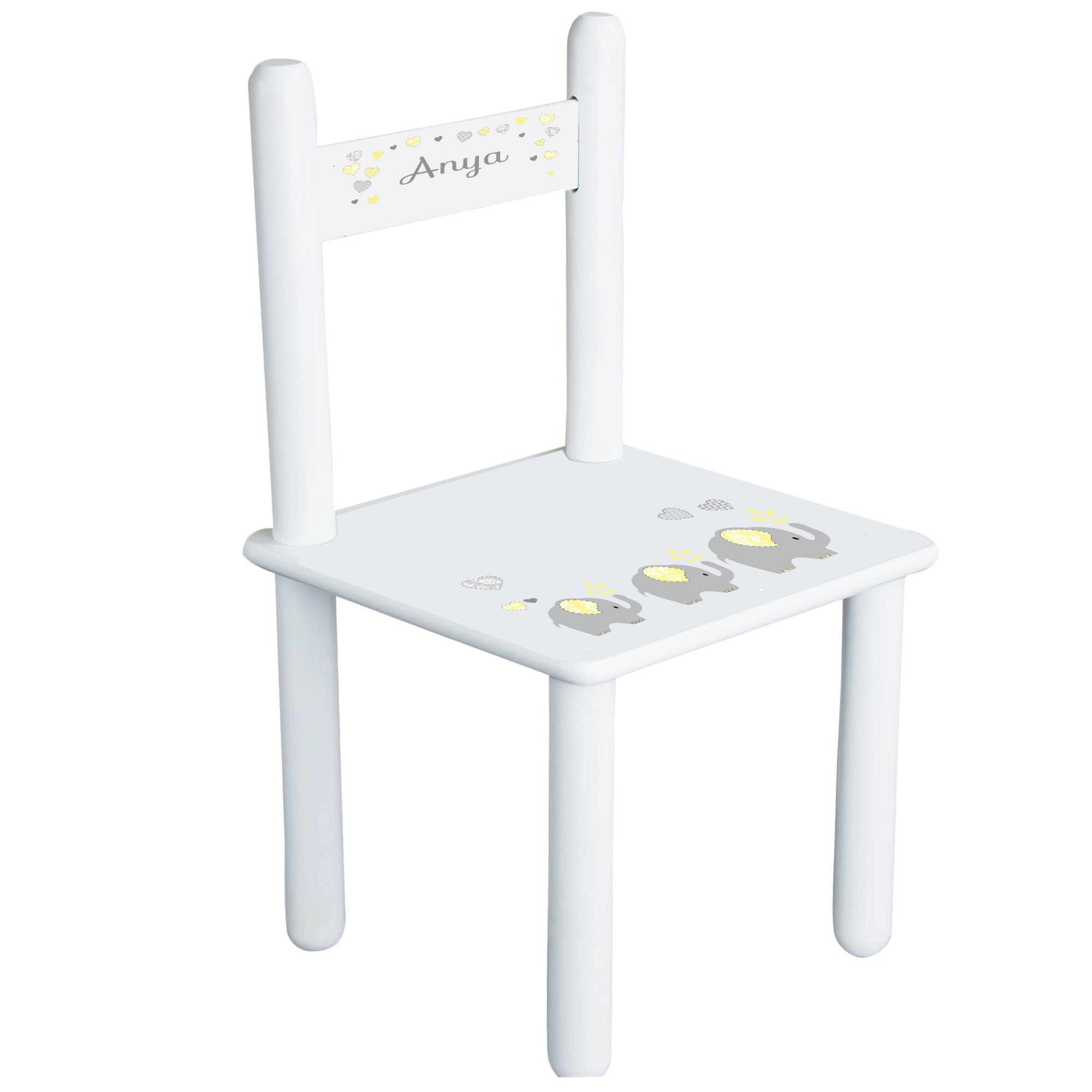 Personalized Yellow Elephants Child's Chair - white